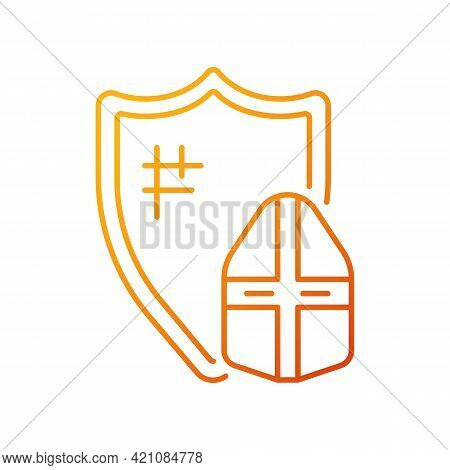 Knight Armor Gradient Linear Vector Icon. Medieval Knight Suit. Middle Ages. Helmet, Shield. Plate A