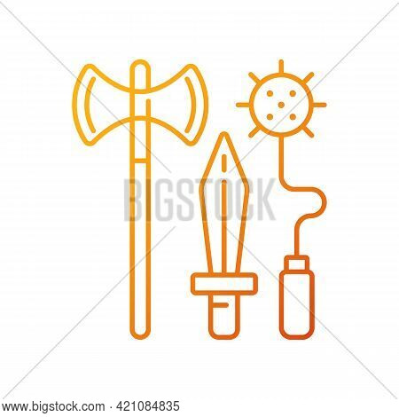 Knight Weapons Gradient Linear Vector Icon. Medieval Times. Arming Sword And Lance. Mace, Battle-axe