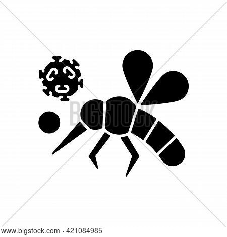 Insects Black Glyph Icon. Dangerous Poisonous Bugs Spread Diseases. Blood Infection. Biological Risk