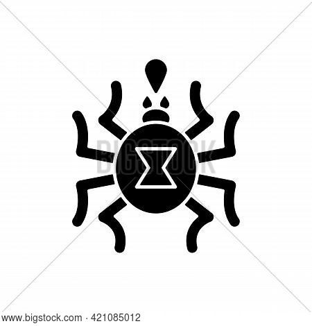 Venomous Insects Black Glyph Icon. Dangerous Bugs Transimitting Infectious Disease. Spider Toxin, Bi