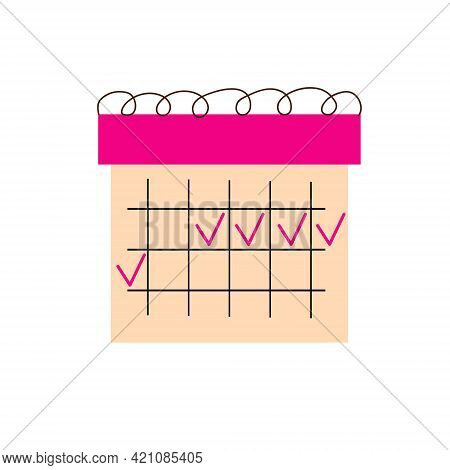 Flat Calendar Icon.  The Calendar Of Menstrual Cycle, Ovulation Calendar For Women, Female Monthly C