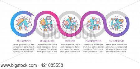 Main Company Core Values Vector Infographic Template. Initiative, Having Fun Presentation Design Ele