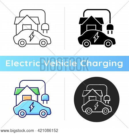 Home Ev Charging Point Icon. Fueling Up Electronic Vehicle At Home. Convinient Place To Charge Elect