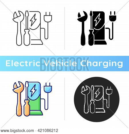 Charging Station Maintenance Icon. Fixing Electronic Vehicle Charging Place. Dealing With Electricit