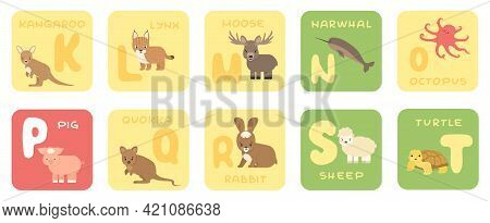Cute Vector K-t Zoo Alphabet Isolated Education Cards With Cartoon Animals. Kangaroo, Lynx, Moose, N