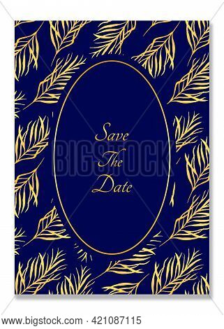 Watercolor Card With Golden Leaves. Botanical Card With Leaves. Bright Golden Twigs. Royal Blue Back