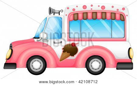Illustration of an ice cream car on a white background