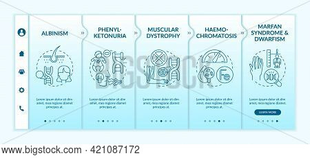 Various Genetic Disorders Onboarding Vector Template. Responsive Mobile Website With Icons. Web Page