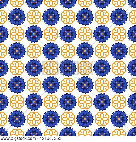 Azulejos Portuguese Traditional Ornamental Tile, Blue And Gold Seamless Pattern. Vector Illustration