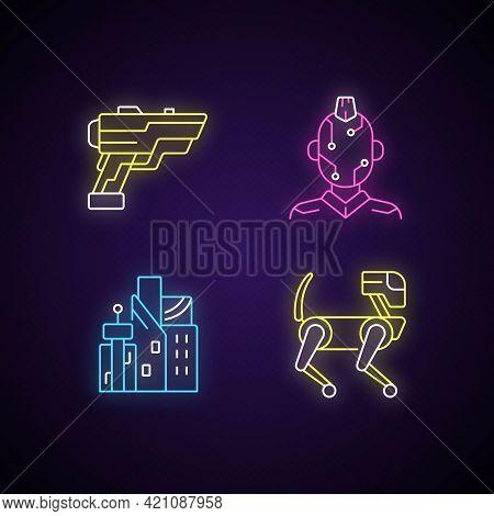 Cyberpunk Items Neon Light Icons Set. Laser Gun. Face Microcircuit. Cyberpunk City. Animal Robot. Fu