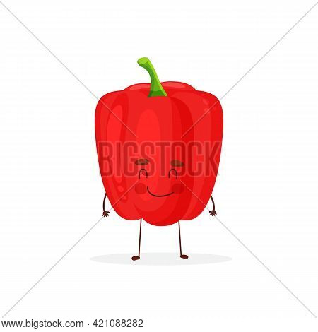 Cute, Cartoon Kawaii Food Pepper. Vector Isolated Image Of A Pepper Bell Pepper Healthy Vegetable Pl