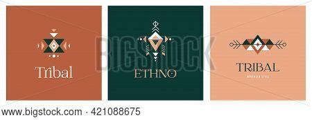 Tribal, Ethnic Logo Design Set, Aztec Mexican, African Symbols, Icons