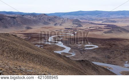 Cold Pure River Anga In Mountain Valley Nearby Lake Baikal. Mountain Landscape.