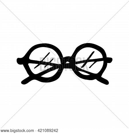 Single Hand Drawn Eyeglasses In Doodle Style. Eyewear Sign For Greeting Cards And Stickers. Vector I