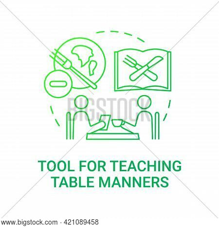 Tool For Teaching Table Manners Concept Icon. School Meal Requirements. Giving Knowledge About How T