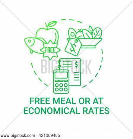 Free Meal Or At Economical Rates Concept Icon. School Meal Requirements. Improving Health By Eating