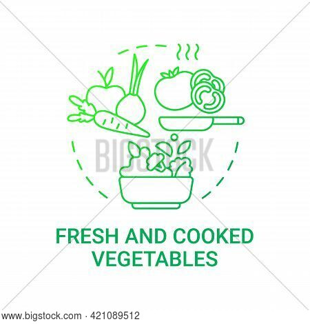 Fresh And Cooked Vegetables Concept Icon. Healthy School Meal Components. Natural Foods. Vegetarian