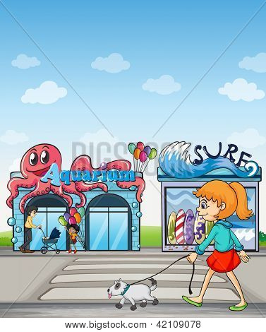 Illustration of a young lady and her pet walking in the street