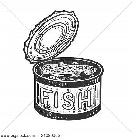 Canned Fish Line Art Sketch Engraving Vector Illustration. T-shirt Apparel Print Design. Scratch Boa