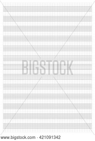 Graph Paper. Printable Grid Paper With Stave On A White Background. A Blank Music Sheet Paper With S