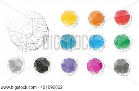 Group Of Low Polygonal Badges, Labels Or Stickers, Set Of Colorful Isolated Vector Illustrations
