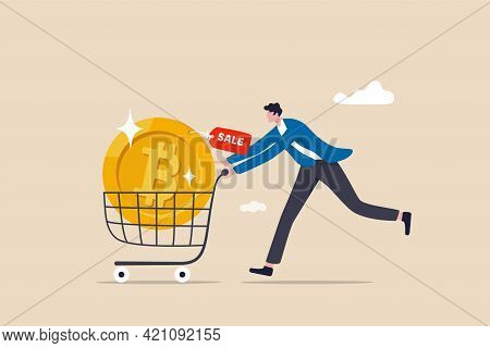 Buying Bitcoin On Sale When Cryptocurrency Price Crash To Make Profit Concept, Smart Man Buying Or P