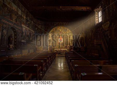 05-14-2021 Totana, Murcia, Spain. Interior Of The Hermitage Of Santa Eulalia, In The Mudejar Style O
