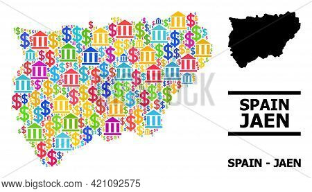 Vibrant Bank And Business Mosaic And Solid Map Of Jaen Spanish Province. Map Of Jaen Spanish Provinc