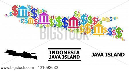Colorful Financial And Money Mosaic And Solid Map Of Java Island. Map Of Java Island Vector Mosaic F