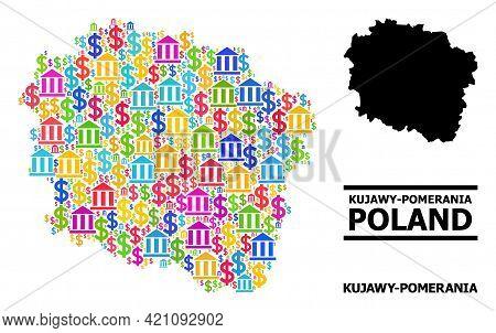 Colored Bank And Economics Mosaic And Solid Map Of Kujawy-pomerania Province. Map Of Kujawy-pomerani