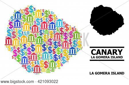 Colored Bank And Commerce Mosaic And Solid Map Of La Gomera Island. Map Of La Gomera Island Vector M