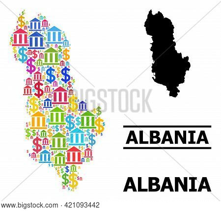 Bright Colored Bank And Business Mosaic And Solid Map Of Albania. Map Of Albania Vector Mosaic For G