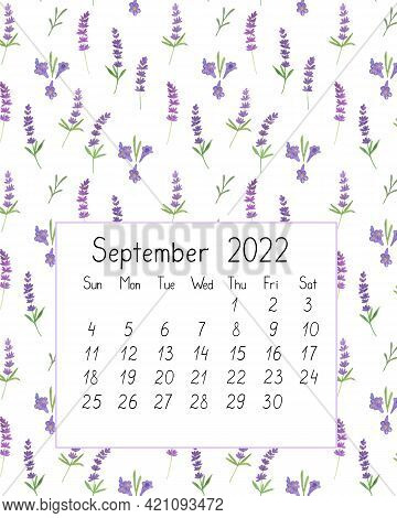 Calendar Page The Year 2022 For September Watercolor Floral Seamless Illustration, Printable Page, H
