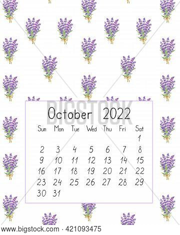 Calendar Page The Year 2022 For October Watercolor Floral Seamless Illustration, Printable Page, Han
