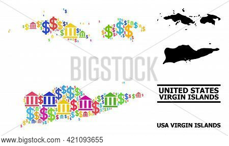 Vibrant Bank And Money Mosaic And Solid Map Of American Virgin Islands. Map Of American Virgin Islan
