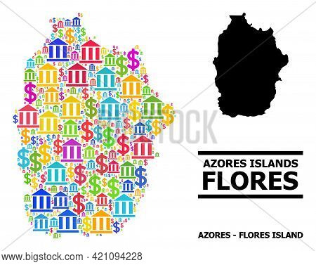 Bright Colored Financial And Dollar Mosaic And Solid Map Of Azores - Flores Island. Map Of Azores -
