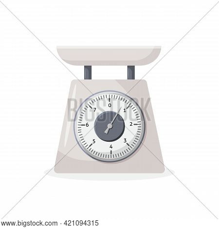 Weight Scale On White Background. Weighing Scales With Pan And Dial. Qualitative Vector Illustration
