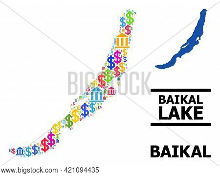 Multicolored Bank And Economics Mosaic And Solid Map Of Baikal. Map Of Baikal Vector Mosaic For Prom