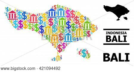 Colorful Bank And Dollar Mosaic And Solid Map Of Bali Island. Map Of Bali Island Vector Mosaic For G