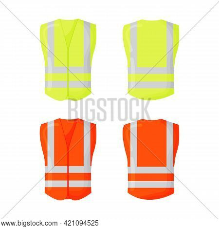 Orange Reflective Safety Vest For People Isolated Vector Front And Back For Promotion On The White B