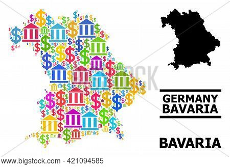 Colorful Bank And Money Mosaic And Solid Map Of Bavaria State. Map Of Bavaria State Vector Mosaic Fo