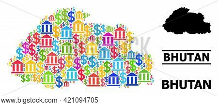 Multicolored Bank And Commerce Mosaic And Solid Map Of Bhutan. Map Of Bhutan Vector Mosaic For Busin