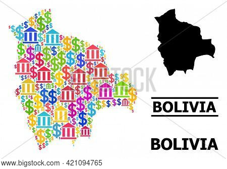 Bright Colored Finance And Dollar Mosaic And Solid Map Of Bolivia. Map Of Bolivia Vector Mosaic For