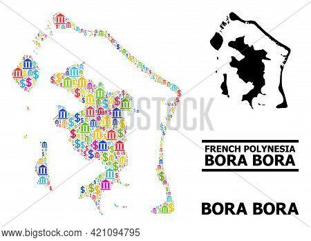 Bright Colored Bank And Economics Mosaic And Solid Map Of Bora-bora. Map Of Bora-bora Vector Mosaic