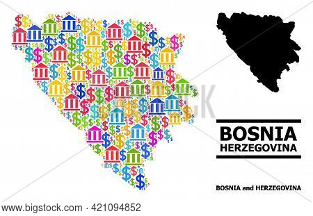 Bright Colored Bank And Dollar Mosaic And Solid Map Of Bosnia And Herzegovina. Map Of Bosnia And Her