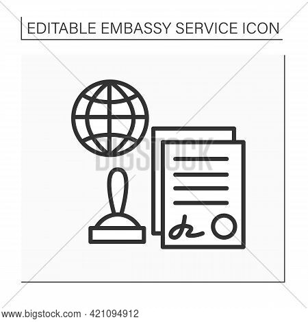 Notarial Services Line Icon. Certified By Notary Public.sign Agreement. Appointed Document With Seal