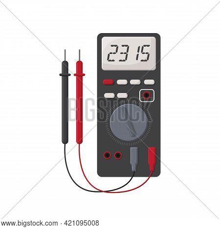 Digital Multimeter. Flat Design Concept, Electrical Measuring Instrument Voltage Amperage Ohmmeter P