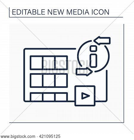Movies Line Icon. Visual Communication. Recording Different Variations Of Films. Interesting Stories