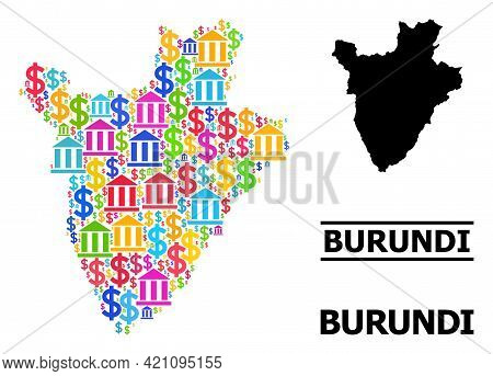 Vibrant Bank And Commercial Mosaic And Solid Map Of Burundi. Map Of Burundi Vector Mosaic For Gdp Ca
