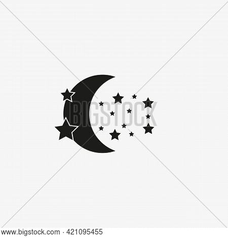 Moon And Stars Of Black Color. Vector Nighttime Icon On White Background